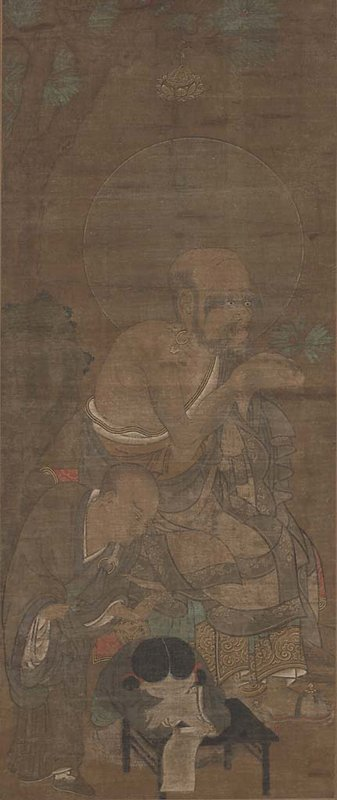 figure seated with one knee up, one on ground, holding fan; halo around head; standing figure on R
