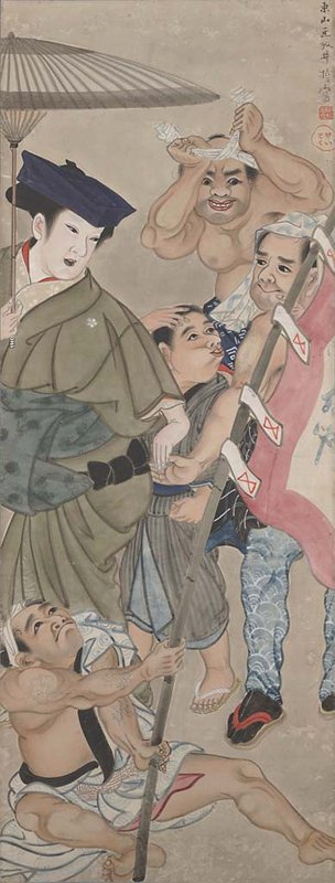figure dressed as female in green kimono with blue hat holding umbrella at L; seated male figure at LL with tattooed arms holds a red and white banner that extends toward R center; younger boy at center scratches head with PR hand while making a face and looking behind towards another man with tattooed arms attempting to grab female figure's hand; at UR, a man with determined look on face ties white headband