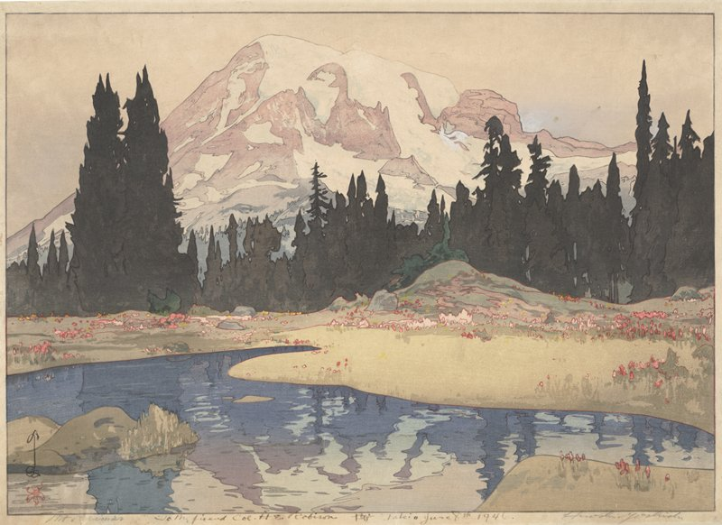 snow-covered purple and pink mountain in background; band of silhouetted pine trees in middle ground; meadow with rocks, pink and yellow blossoms, and curving river reflecting mountain in foreground