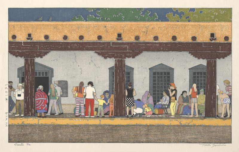 diverse groups of people in very colorful clothing the long, covered porch of a grey stucco building; women in colorful shawls and long dresses seated along colorful blankets with their backs to the stucco wall; people in contemporary clothing interacting with the seated women; porch pillars and lintels are dark brown wood; yellow roof with pigeons; grey windows
