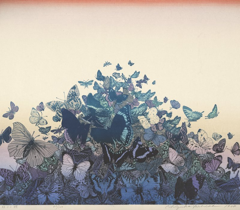 triangular shaped cluster of butterflies; saturated hues of purple, blue, teal, and yellow; neutral background with orange fade along top