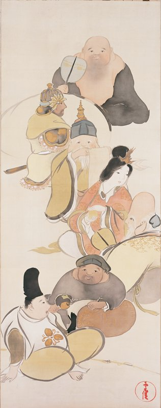 six male figures and one female figure, all seated in zigzagging line from UR to LL; each figure holds an object such as a fan, scroll, orb, and fishing pole; each has a happy expression