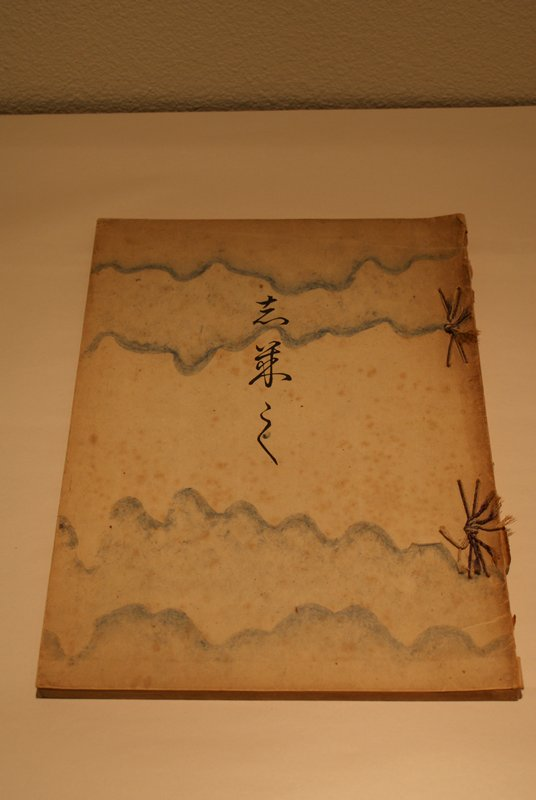 string-bound book of block printed images of birds, landscapes, trees, and foliage; decorated paper cover with blue wavy fibers