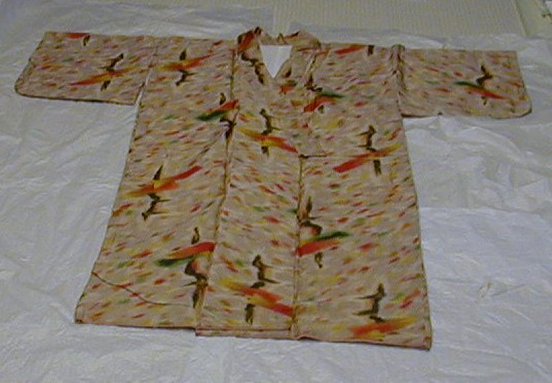 light brown kimono with yellow, red, green, orange, black and red brush stroke motifs