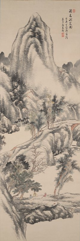 mountain landscape with three men seated below trees on large, flat rock formation; two other figures at R prepare tea, one of whom is ladling water from shore; tall mountains in background; natural rock bridge with pavilion at R side; small waterfall with bridge at L