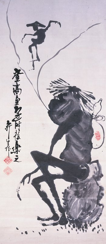 bony black figure with long fingers, straw hat, and gourd tied to back rests on a rock; two light grey lines extend from mouth, resembling a puff of air; smaller silhouette of figure in jumping pose between two grey lines at top; inscription at L
