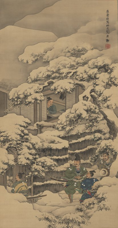male figure seated at desk in front of window looking outside; man's PR eye is shut or missing; snow-covered trees and fence outside; three samurai gathered outside behind fence, outside of view; fourth figure in yellow enters gate at L
