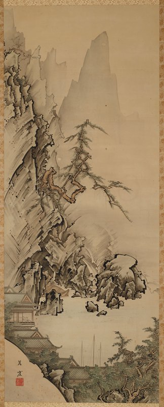 large, rocky cliff-like formation on left side with gnarled pine tree growing off rock face; tranquil body of water near lower center; buildings with tiled roofs near LLC along shoreline; trees LRC; silhouettes of mountains in background