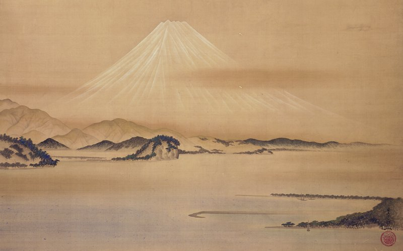 tall mountain peak in background center (Mt. Fuji), in almost white color; lower mountains and rocks in middle ground with water; some with trees; bay with a couple of boats; tree covered land; middle and foreground separated by water