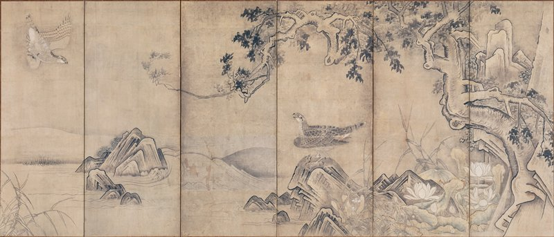 R screen: large tree at R with branches and foliage extending over several panels; cluster of squared rocks at R; lotus blossoms and leaves at R; hawk perched on stone near center; another hawk at UL about to dive downward