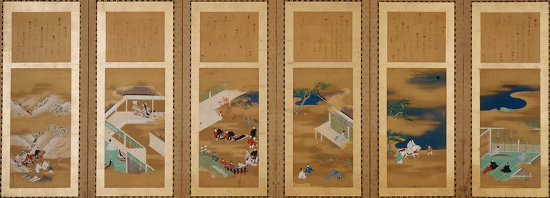 each panel has small separate poem at top; scenes of figures enjoying activities in different seasons; from R, scene 1: 4 seated figures on green mat, with 2 male figures playing flute and koto; scene 2: male figure riding white horse near river with two attendants; scene 3: male figure on verandah holding stick with two figures seated in grass at LLC; scene 4: two figures in checkered pants dancing near verandah with musicians near bottom, and autumn leaves on ground; scene 5: two female figures dancing with fans on porch while male and female figures at LL watch; scene 6: winter scene with procession on horses riding through snowy mountain peaks