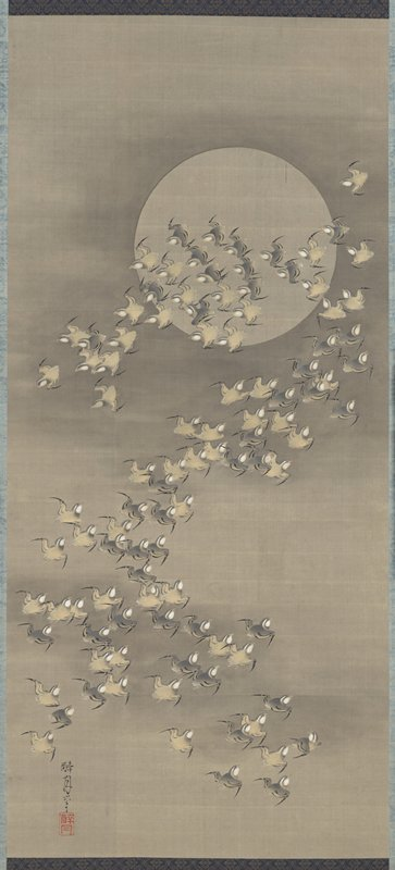 swarm of small, fat chested gray and tan birds zigzagging over the scene against silver moon