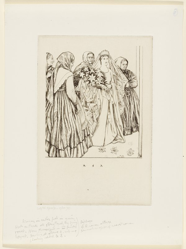 bridal scene: young woman in wedding dress and long veil with crown cradling a large bundle of flowers in PR arm, followed by four older women in dresses with head scarves; lilies on the floor in front of bride