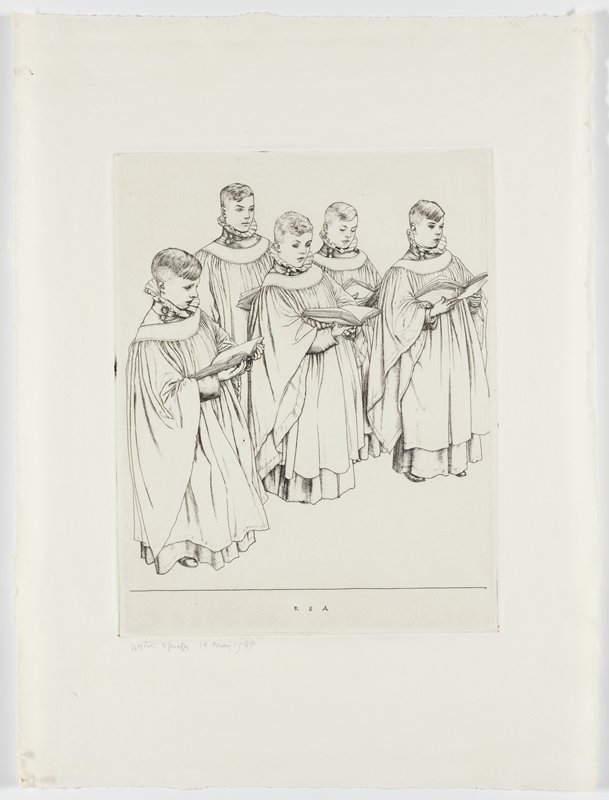 five boys dressed in layered robes holding large hymnals, standing and singing; wear ruffled collars