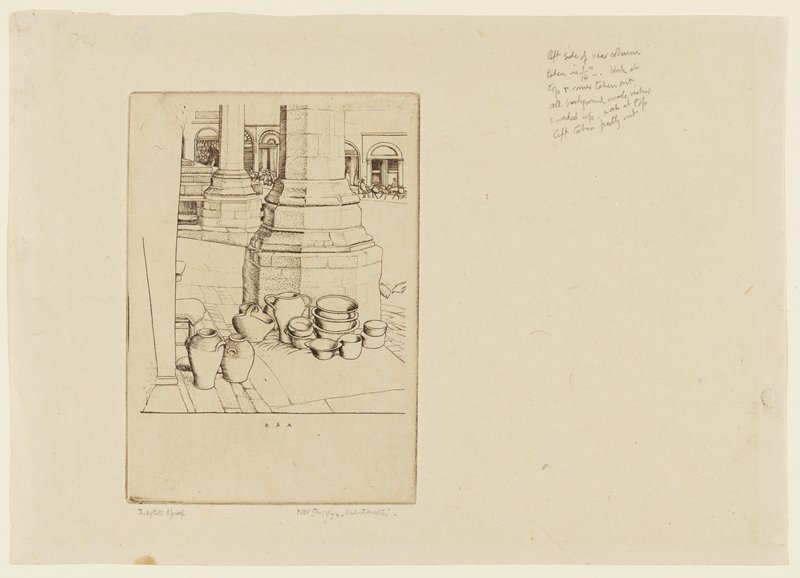 depiction of octagonal column base with pots on and around a mat in front; chair to the left; pigeons at right; city scene in background