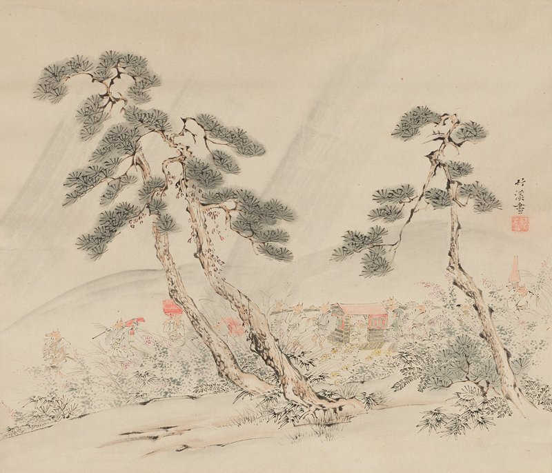 landscape with procession of anthropomorphized foxes walking on hind legs including foxes seated in a grey and red sedan chair; two tall trees and grasses in foreground partially cover processional; muted colors; ivory roller ends