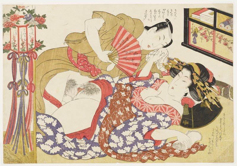 couple engaged in intercourse; man wears a tan kimono and holds a red and pink fan with text; bare-breasted woman wears a purple kimono with white patterns and a brown obi with white bird-like patterns; lantern with flowers and long looped ties at left; books and scrolls in a cabinet in ULC with flowering branch on doors at bottom; text in LRC and above man's head