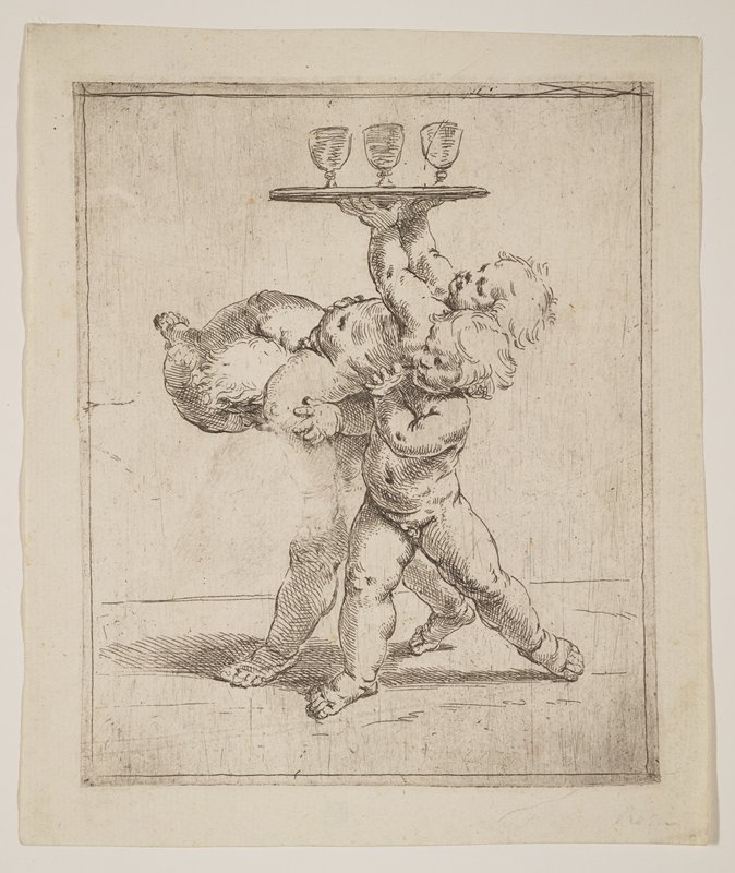 three chubby nude toddlers; two children carry a third, who holds a tray with three glass stemmed goblets