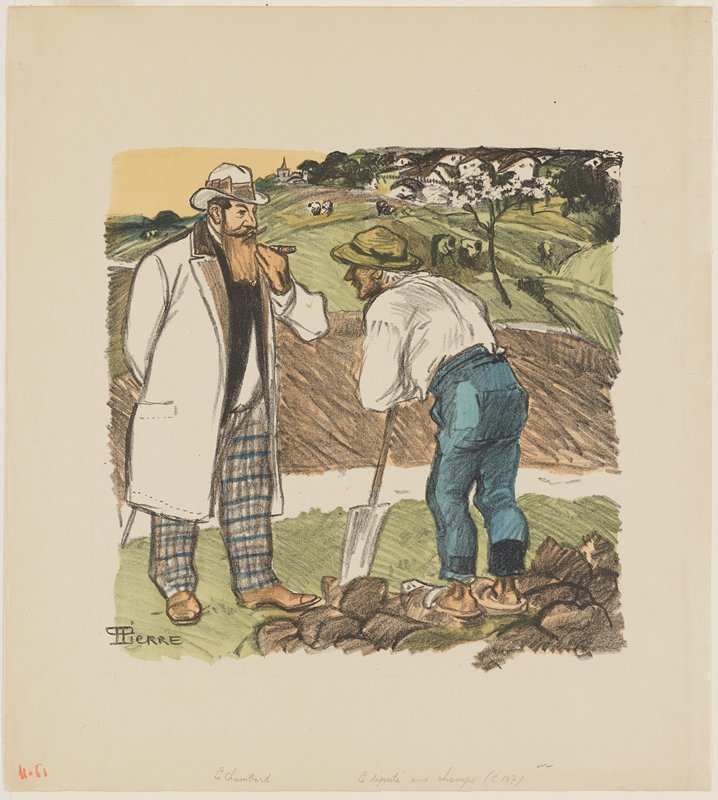 two men outdoors; man at right wears blue pants, clogs, white shirt and greenish hat and leans on a shovel; man at left wears plaid pants, long white coat, black vest and white hat, smoking a cigar; man at left has long tan beard; figures in farm fields and houses in background