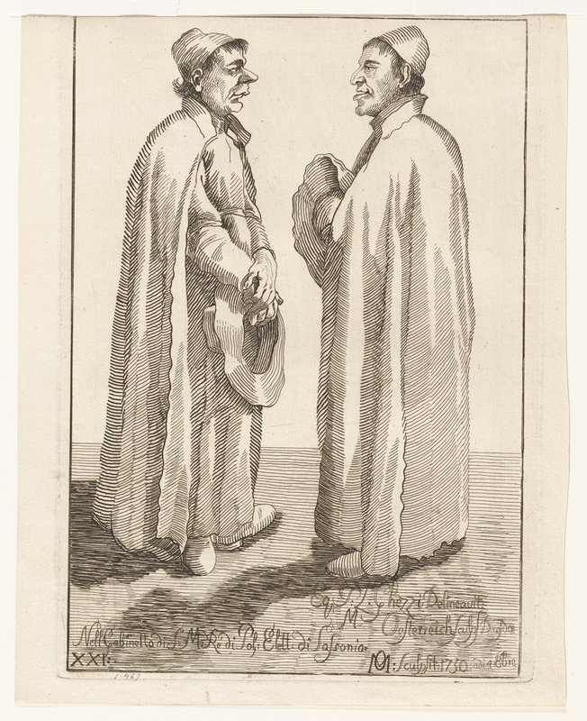 portrait 1/2 length of Daniel van Heil facing right looking at viewer; left hand across chest; wearing cloak and flat white collar