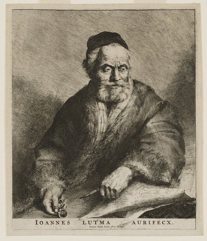 image of an old bearded man in a jacket with fur collar and cuffs and a black hat with his head turned slightly to his PL, holding spectacles and a drawing instrument, arm on sheets of paper