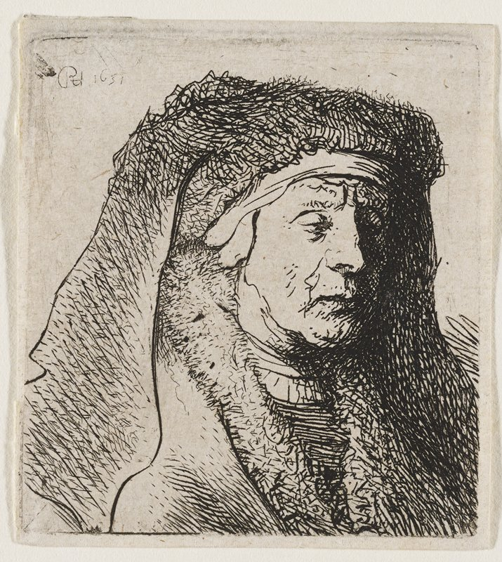 head and shoulders of an old woman wearing a large fabric headdress and a garment with a fur-lined collar; facing to the R of the picture plane