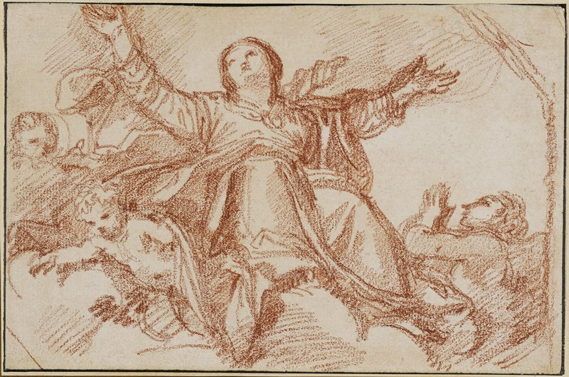 red chalk drawing of a woman at center with her arms out stretched looking skyward; clouds at her feet; flanked by two putti