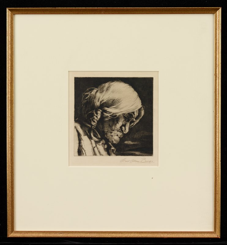 old woman in profile, looking down, with white hair in braids