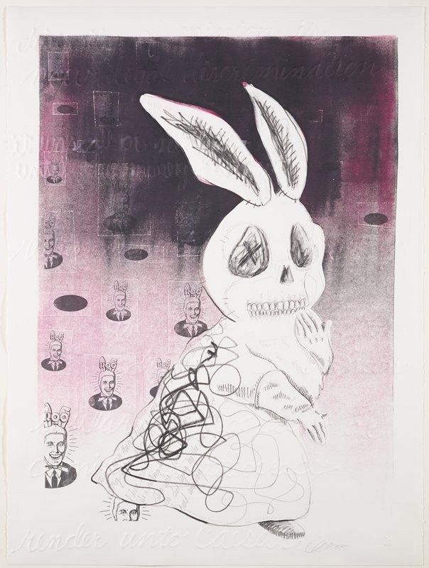 "sketch of ghostly or zombie rabbit walking upright, with human hands in gloves, wearing a robe-like garment, walking toward right, with PL hand held up to teeth; hand-written text on back of rabbit's garment with thick curving scribbled lines over text and lower front of garment; repeated image in different sizes, printed in black of shaded purple-black, of cartoonish image of smiling man wearing a hood with rabbit ears with ""ROO"" over top of ears; embossed lines of text throughout, including ""render unto Caesar"" in bottom margin"