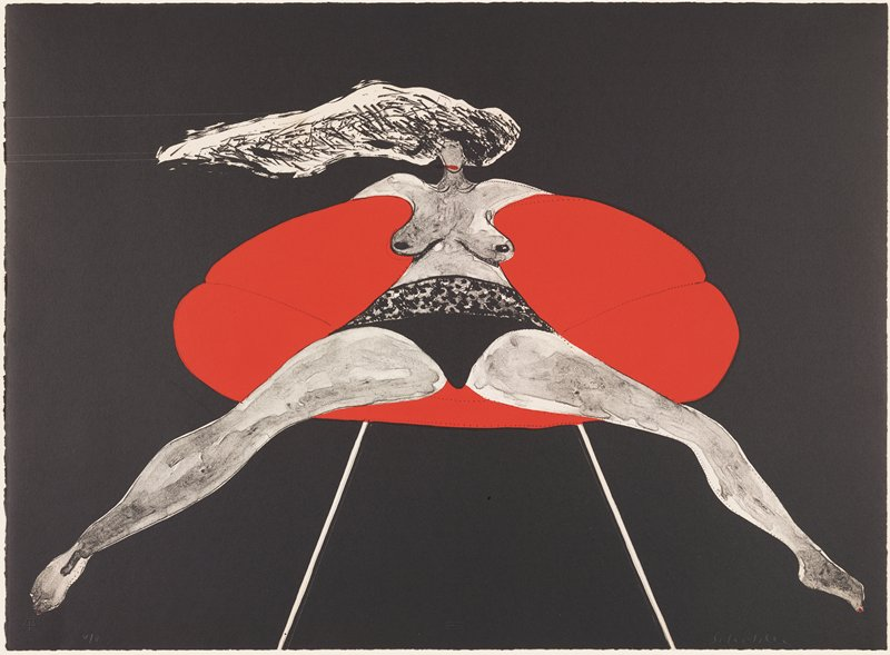 slightly abstracted image of a bare-breasted woman with long hair flowing toward left, seated in an oval-shaped red chair, wearing black panties, with legs far apart