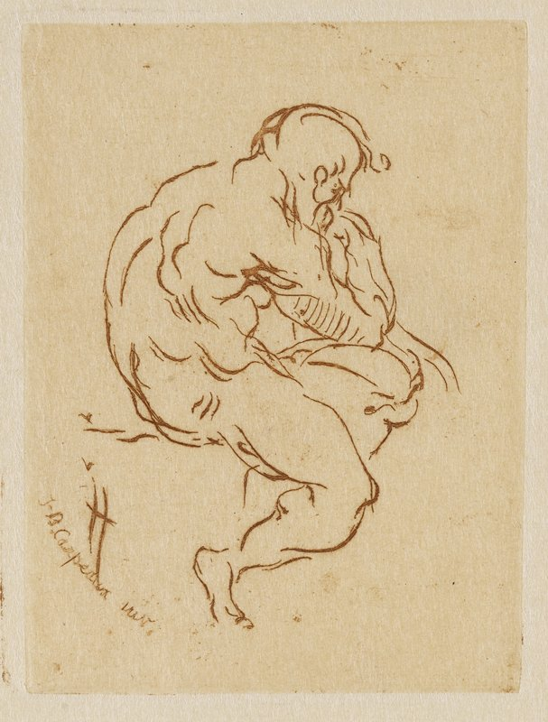 profile of very muscular nude man who is seated supporting his elbow on his knee, and his chin on his hand