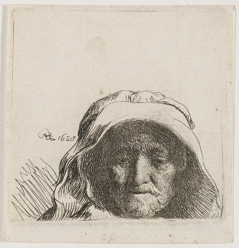 head of elderly woman with large white headdress covering hair and ears; pensively looking downward; portion at L seems to be darker compared to grayish tone of other inking