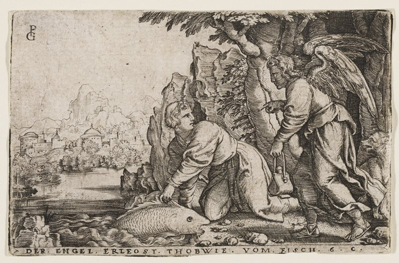 young man kneeling at a riverbank, grasping a large fish; the man is looking behind him to an angel in the R side of image, who is pointing in an instructive manner and holding a purse; dog at far R, city in background at L