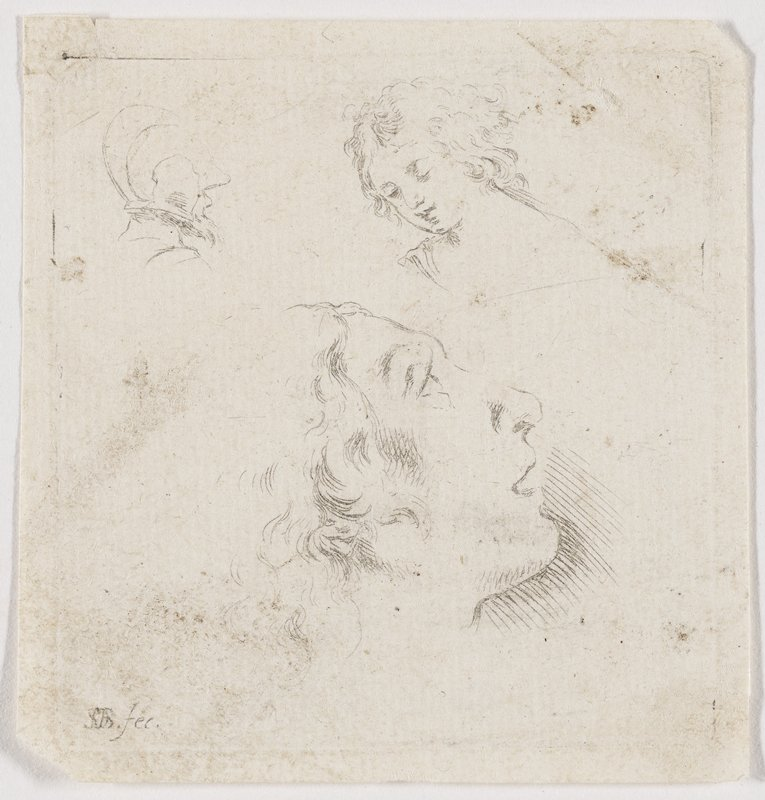 faintly sketched image of three heads: at L: rear 3/4 view of a bearded figure with helmet; center: profile of a figure with curly hair, looking up as if in awe; R: angelic young figure with curly hair
