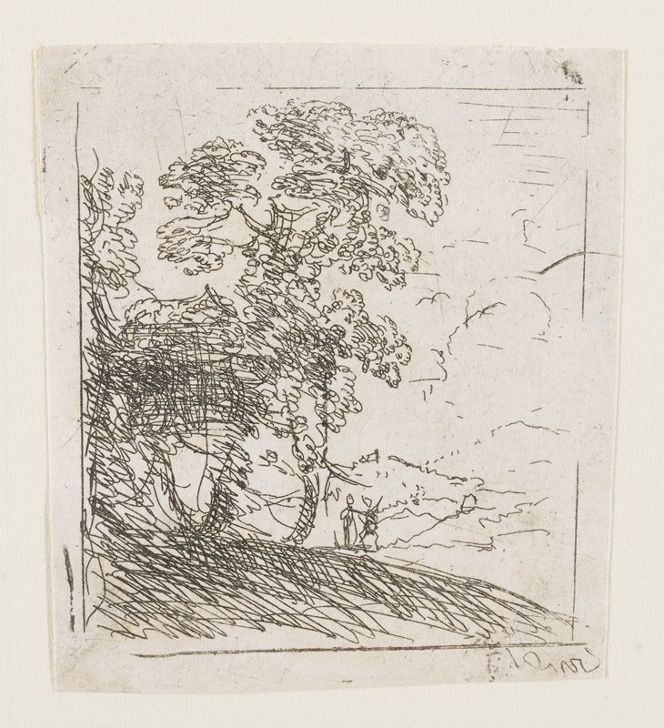 Freely sketched trees on a gentle embankment at left; open space with distant mounds at right; two tiny figures near the trees.