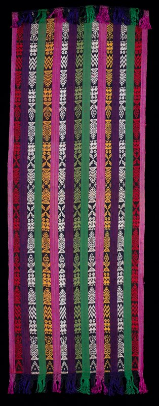 cotton and silk, multicolor (pink, red, green, yellow, purple, white) stripes. Surface ornamentation (Dyed)