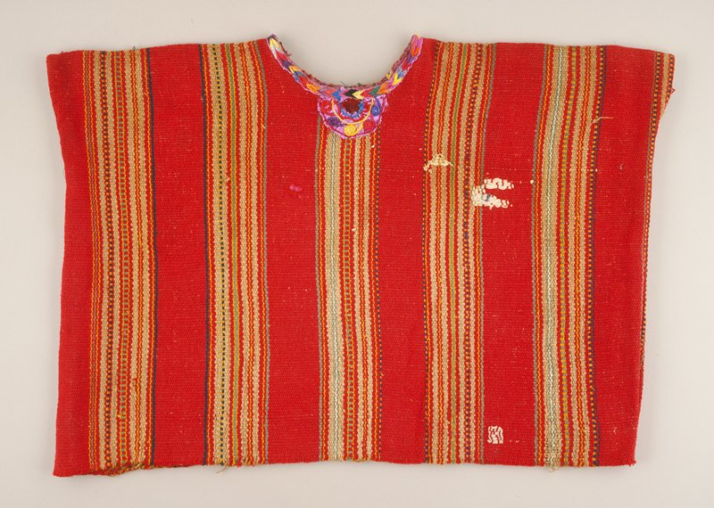 huipil; red stripe cotton; plain weave; embroidered neck