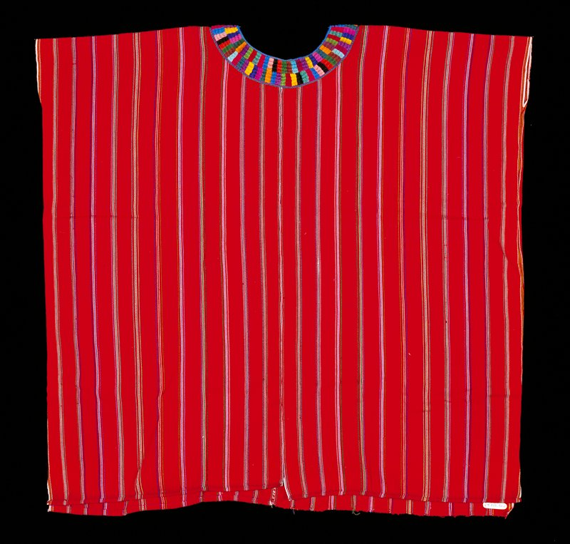 Red body with thin vertical stripes in white, blues, green, purple, pink, yellow and maroon; round neckline decorated with multicolored embroidered rectangles; snap at front of neck. Surface ornamentation (Needlework)