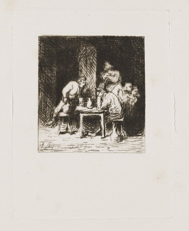 man seated in profile at a table, resting his head on his hand at R; man at L leaning over bench across from table talking to seated man, holding a pitcher; other figures at R