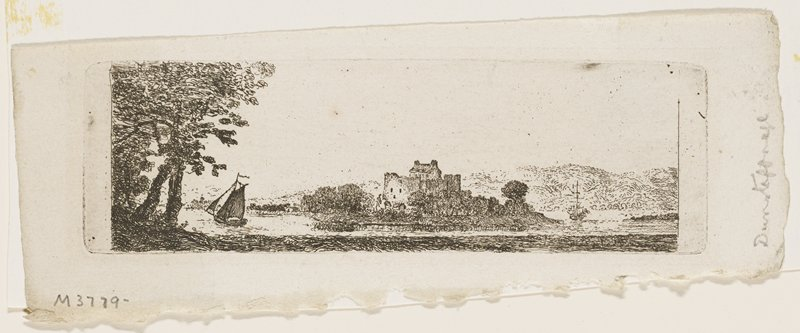 large stone castle or fort surrounded by thick foliage, on a point overlooking a body of water; sailboat at L near trees; another ship at R; low mountains in background