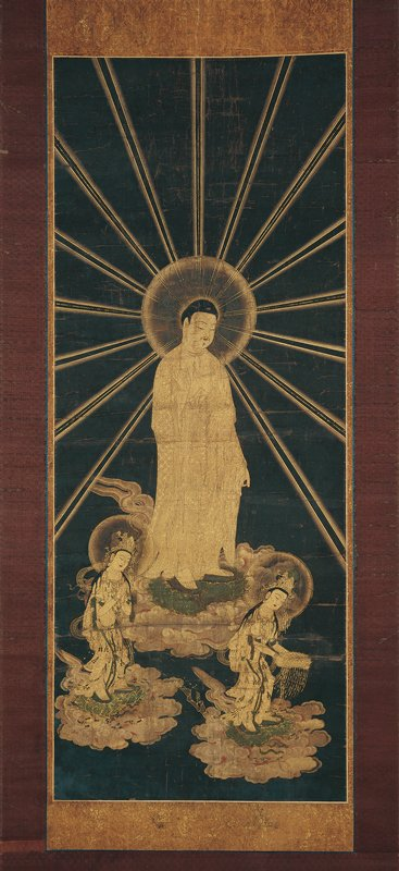 unsigned; Amida Buddha at center on cloud, with PR hand raised, PL hand lowered, with large halo emitting gold beams over image; smaller figure at L on cloud, bending forward slightly with hands clasped and head lowered; figure at R bending slightly, offering a jeweled box