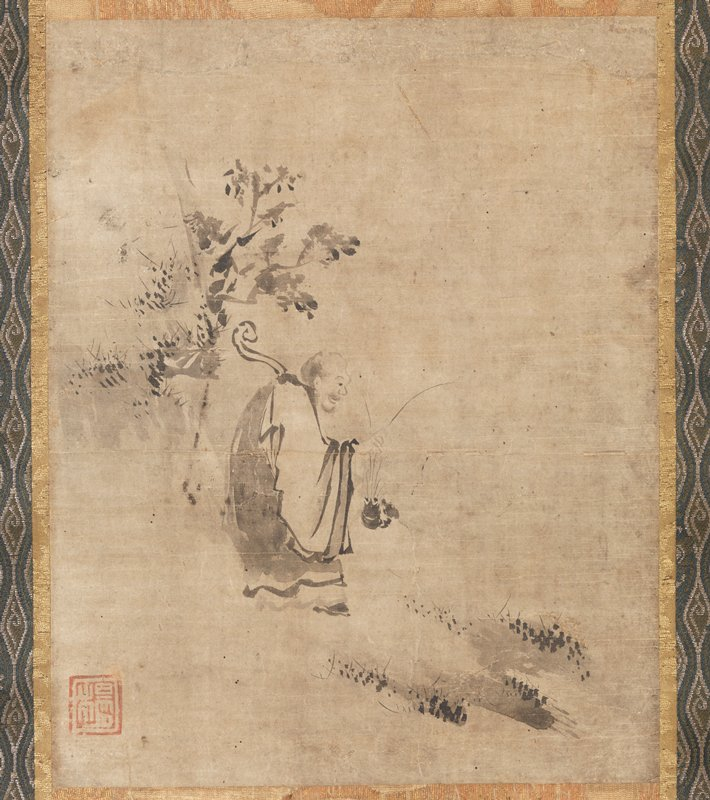 male figure in monk's dress holding a large crustacean by its front feelers; curved staff behind PR shoulder; figure is standing on a shore; rock formation and gnarled tree behind him