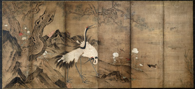 unsigned; pair of cranes left of center; pine tree at left; swimming duck and pair of smaller birds at right; blooming white and red chrysanthemums; unsigned
