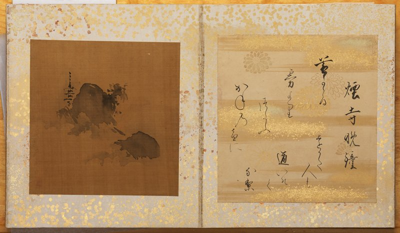 album of eight ink landscape paintings on discolored, brown silk opposite facing eight descriptive poems on decorated paper; album is covered in brocade fabric with burgundy flowers and gold geometric designs