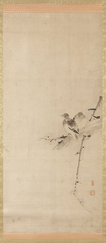 two small doves perched on a portion of a branch at R; downward pointing branch below, with small buds