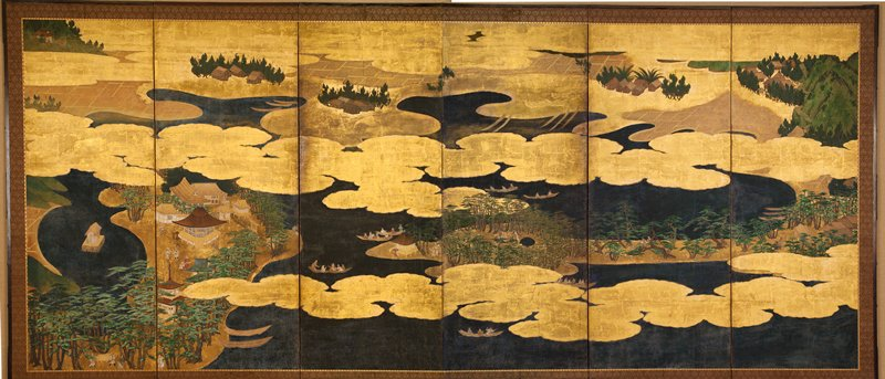 landscape scene with dark blue water and puffy gold clouds, brown rice fields, trees, mountains; a few huts amid fields; small temple complex on a peninsula; people on boats