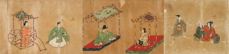 six richly painted scenes: couple sitting close at R with approaching figure; male and female sitting across from one another in small structures; female figure in stylized rickshaw with male figure nearby; two male figures fighting; male figure at end with sword and open fan