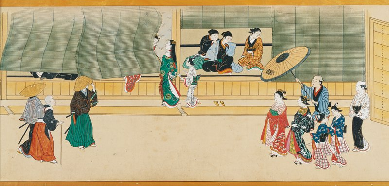 several vignettes of men and women carousing; men rowing sleeping women on boats; women performing instruments and lounging inside buildings with barred windows; scenes inside tea houses and behind screens; ivory roller ends