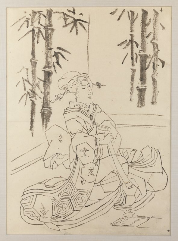 framed: preparatory drawing of a woman sitting on the ground wrapped in large robe, holding long object in hands; open scroll with tassel in front of woman on ground; woman is looking up slightly with a smile; bamboo in background