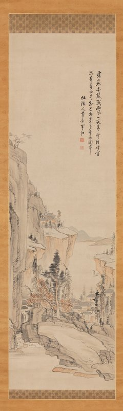 landscape with tall rock faces at L and R sides; building on flat cliff near C trees on lower rocky outcropping; view of bay with small village at center between cliffs